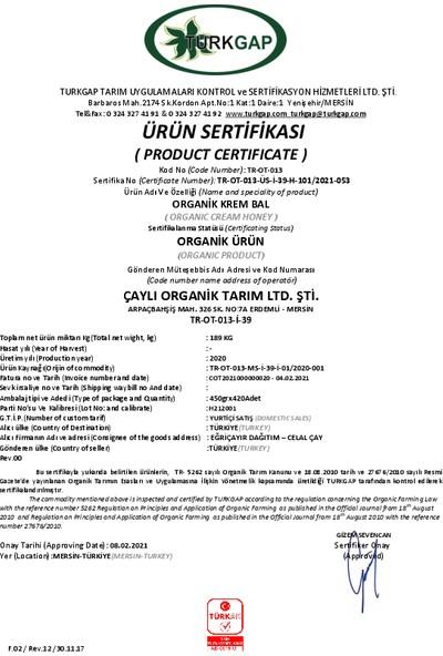 Eğriçayır Organik Krem Bal Şahbaz Çaylı 450 gr