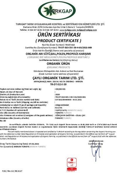 Eğriçayır Organik Arı Sütü Bal Polen Propolis Karışımı 240 gr