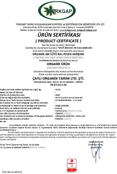 Eğriçayır Organik Arı Sütü Bal Polen Karışımı 225 Gr
