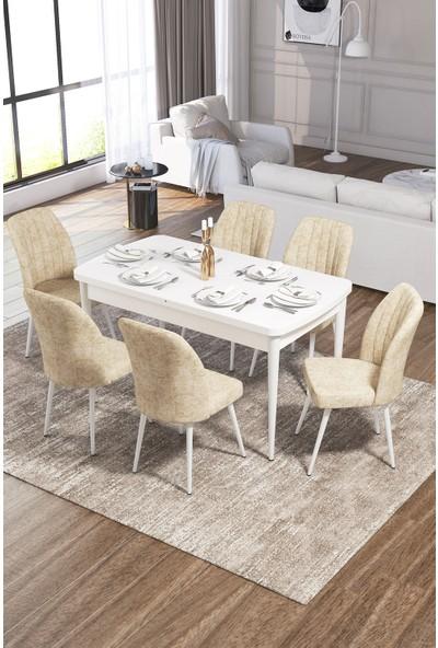 Rovena Vera Serisi Mdf Beyaz Mutfak Masası Takımı + 6 Adet Sandalye