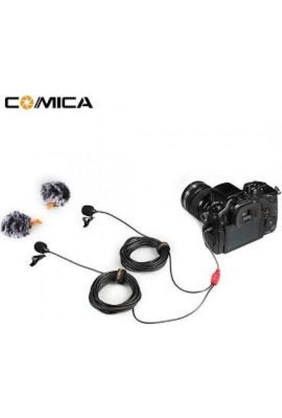 Comica CVM-D02 Çift Kafa Yaka Mikrofon (2,50 Metre)