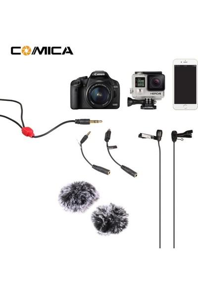 Comica CVM-D02 Çift Kafa Yaka Mikrofonu (4,50 Metre)