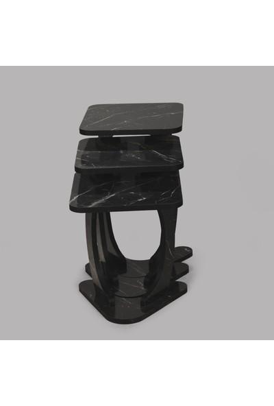 Bitirdin Milda Siyah Kare Zigon Sehpa Özel Tasarım Sehpa Mermer Desen
