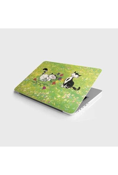 Jasmin2020 Çıkarılabilir Laptop Sticker Notebook Kaplama Etiketi Çiçekler ve Kediler