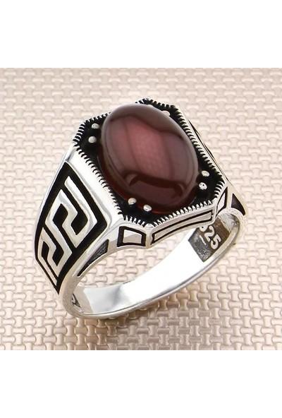 Keskin ZKY-0926 - Kırmızı Akik Erkek 925 Ayar Gümüş Yüzük - 7,8 Gr.