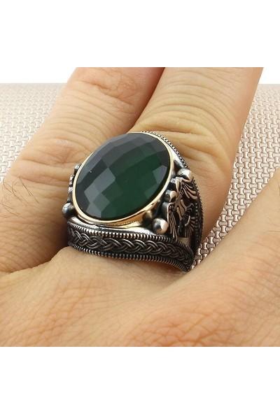 Keskin ZKY-0769-KA Yeşil Kesme Erkek 925 Ayar Gümüş Yüzük 12.7 Gr.