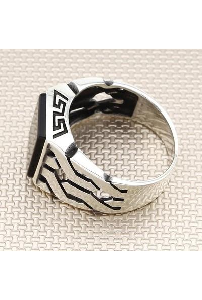 Keskin ZKY-0652 - Siyah Düz 925 Ayar Erkek Gümüş Yüzük - 7,8 Gr.