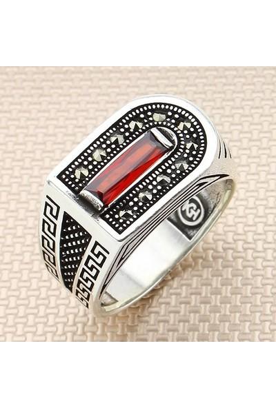 Keskin MEK-303 Kırmızı Kesme Erkek Gümüş Yüzük 925 Ayar 8.7 Gr.