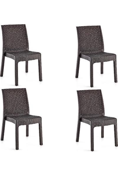 Holiday Deluxe Rattan Sandalye Kahverengi | 4'lü Set