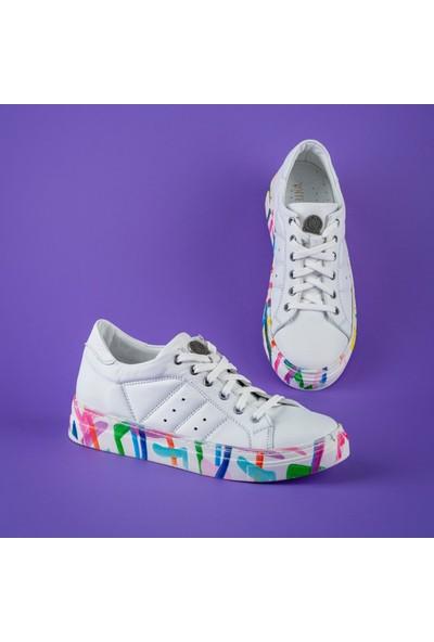 Rollerbird Quick Beyaz Deri Gizem Renkli Tabanlı Spor Ayakkabı