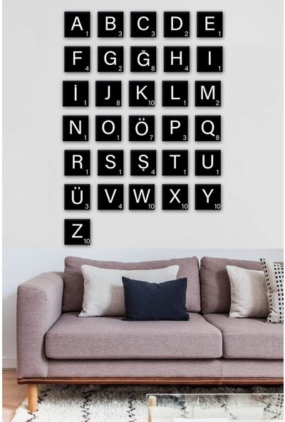 Nt Handmade Ü- Scrabble Harf Pano 10X10CM