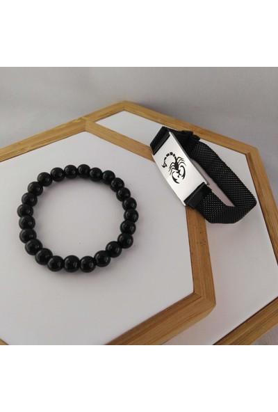 Modamugo Çelik Hasır Kemer Kombin Erkek Bileklik Akrep Model - Siyah