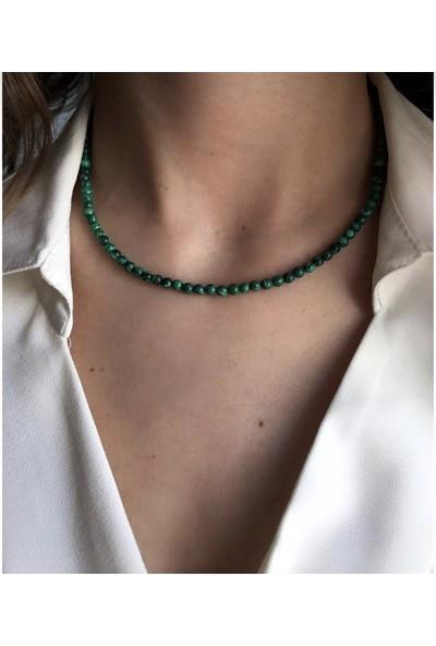 Serpil Jewellery 925 Ayar Gümüş Malahit Doğal Taş Kolye 3 mm