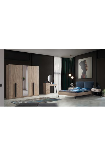 Feyza Mobilya Premium 5 Kapılı Bazalı Yatak Odası Takımı