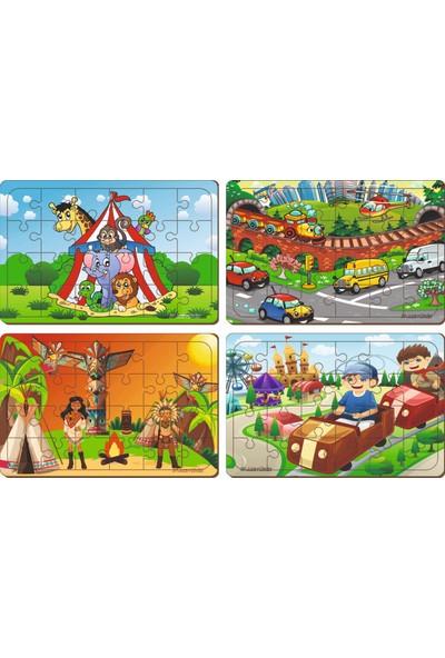 Maketçiniz 4 Adet 24 Parça Ahşap Puzzle Yapboz Set-5