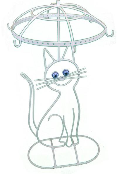 Naz Tasarım Ferforje Kedi Objeli Takı Askılığı Beyaz