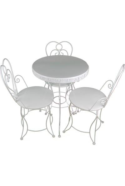 Naz Tasarım Ferforje Masa & Sandalye Takımı 1+3 Beyaz