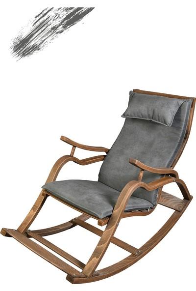 TOKKO Oslo Ahşap Formlu Sallanan Sandalye - Dinlenme Kitap Okuma Tv Koltuğu Gri