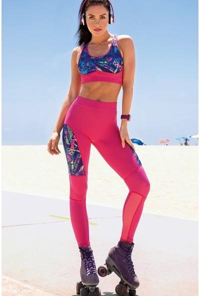 Yeni İnci Fuşya (Yoga-Fıtness-Pilates-Koşu) Sporcu Tayt Alt Üst Takım