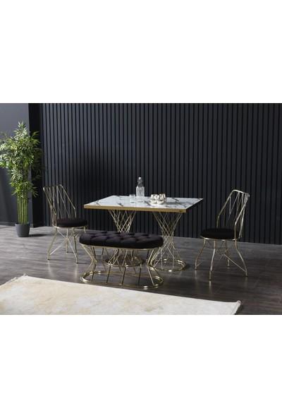 Ressahome Bianco Puflu Beyaz Mermerli Mutfak Masası TAKIMI-80X120 cm