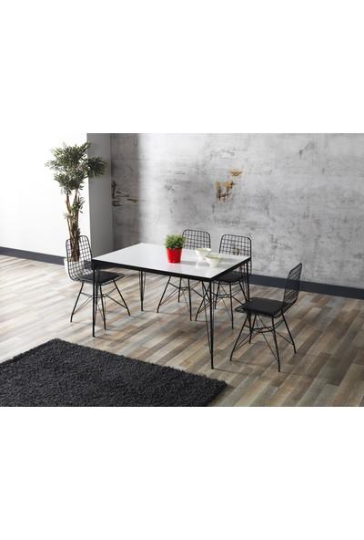 Ressahome Yonca Beyaz Görünümlü Metal Ayaklı Mutfak Masası Takımı - 80X120 cm