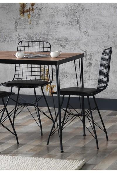 Ressahome Yonca Akçaağaç Görünümlü Metal Ayaklı Mutfak Masası Takımı - 80X120 cm