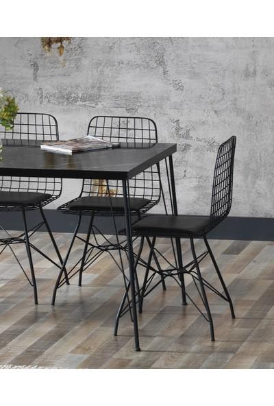 Ressahome Yonca Siyah Mermer Görünümlü Metal Ayaklı Mutfak Masası Takımı - 80X120 cm