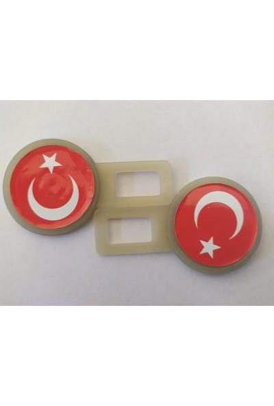 Boğaziçi Türk Bayrağı Beyaz Sahte Oto Emniyet Kemer Klipsi