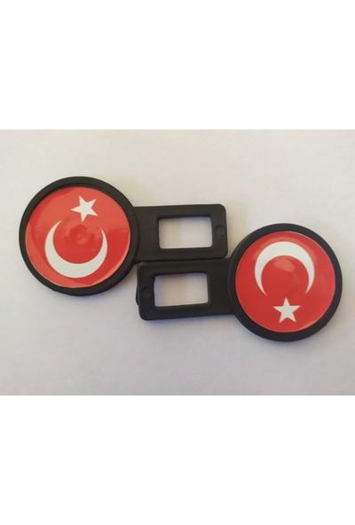 Boğaziçi Türk Bayrağı Siyah Sahte Oto Emniyet Kemer Klipsi