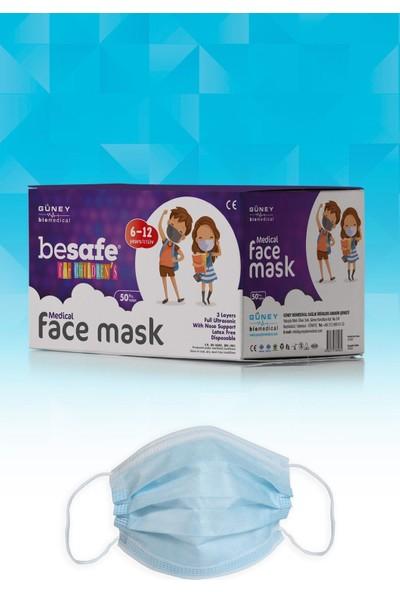 Besafe Full Ultrasonik 3 Katlı Lateks Free Çocuk Cerrahi Maske Mavi 50 Adet