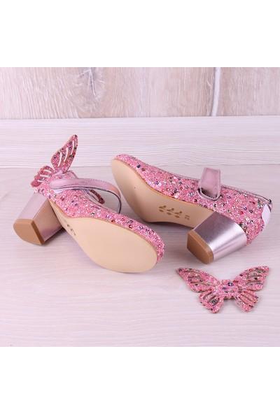 Kidya Cam Kırığı Taş İşlemeli Kelebek Figürlü Topuklu Kız Çocuk Ayakkabı Pembe