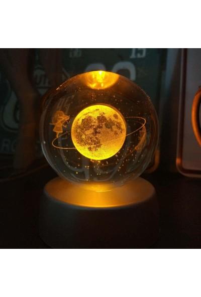 Şeker Ofisi Kristal Küre Satürnlü Kız LED Gece Lambası 5 Renk Değiştirir