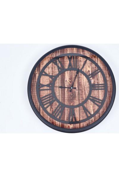 Özell. Camlı Rustik Siyah Metal Duvar Saati - Ahşap Desen