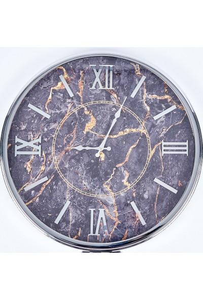 Özell. Camlı Krom Metal Duvar Saati - Mermer Desenli