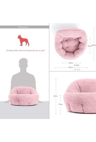 Gökcan Home Pembe Yumuşak Dokulu Kedi ve Köpek Yatağı (50X50X32CM)