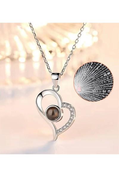 100 Dilde Seni Seviyorum Zirkon Taşlı Kalp Kolye Gümüş Renk