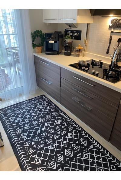 Homeshop Cnyt2 Siyah & Beyaz Mutfak Halısı