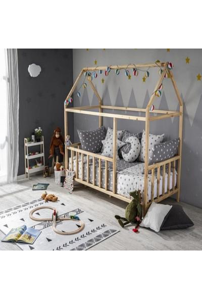 Köşk Mobilya Çatılı Montessori Bebek Çocuk Karyolası Kalın Alt Gövde
