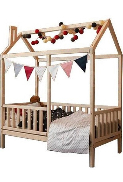 90x190 Çatılı Montessori Yatak Ahşap Karyola