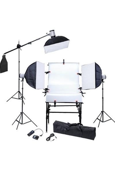 120 W 3 Lü Paraflaş Set ve Çekim Masası