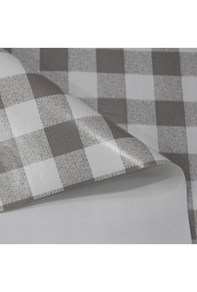 Dede Ev Tekstil Elyaf Silinebilir Pvc Muşamba Masa Örtüsü - Gri Pötü Kare