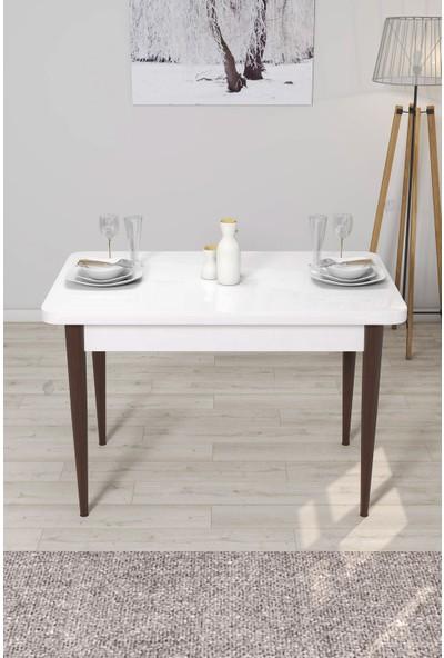 Rovena Lera Serisi Beyaz-Ceviz Ahşap Ayaklı Sabit Masa Takımı +4 Adet Sandalye