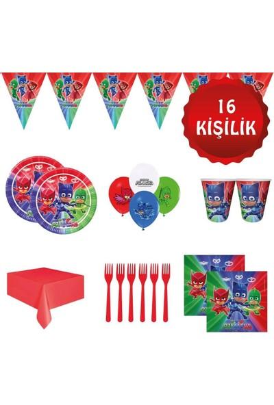 Parti Furyası Pj Masks Pijamaskeliler Pijamaske 16 Kişilik Doğum Günü Parti Süsleri Seti