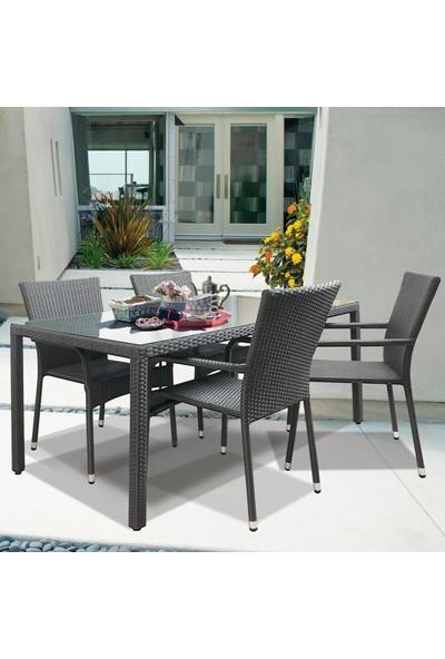 Evinizin Atölyesi Hasır Örme Rattan Masa Sandalye Yemek Seti, Yemek Masa Sandalye Seti