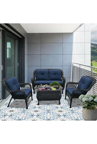 Evinizin Atölyesi Rattan Koltuk Bahçe Sandalye Takımı,suya Dayanaklı Rattan Örme 4 Parça Rattan Balkon Seti