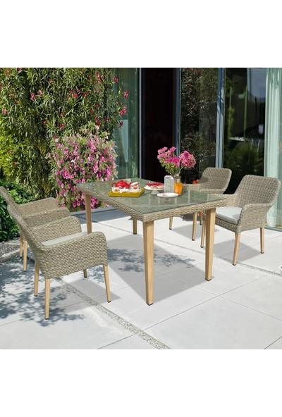 Evinizin Atölyesi Rattan Yemek Grubu, Bahçe Balkon Teras Koltuk Masa Sandalye Seti