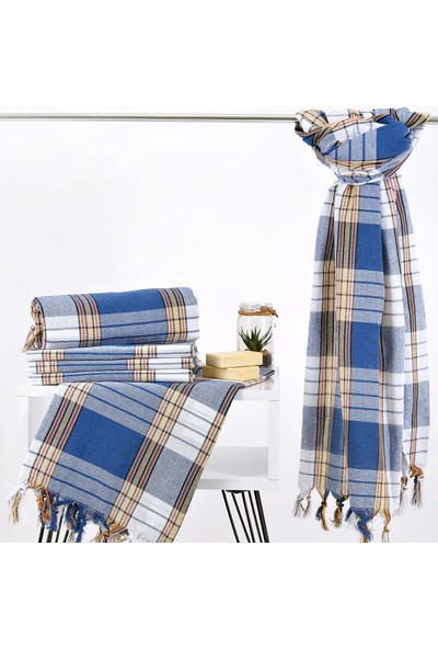 Evteks 10'lu Mavi Ekose Peştemal 80X180 cm