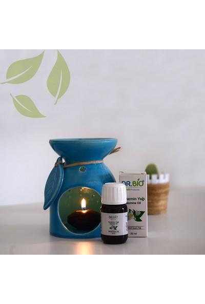 Dr Bio Aromaterapi Yaprak Tasarımlı Mavi Buhurdanlık & Yasemin Yağı (20 Ml)