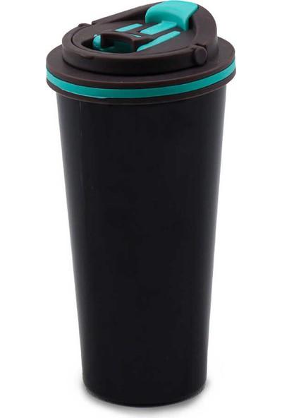 Medusa A11-5 Taşıma Kulplu Kilitli Mug Bardak Termos Siyah-Yeşil