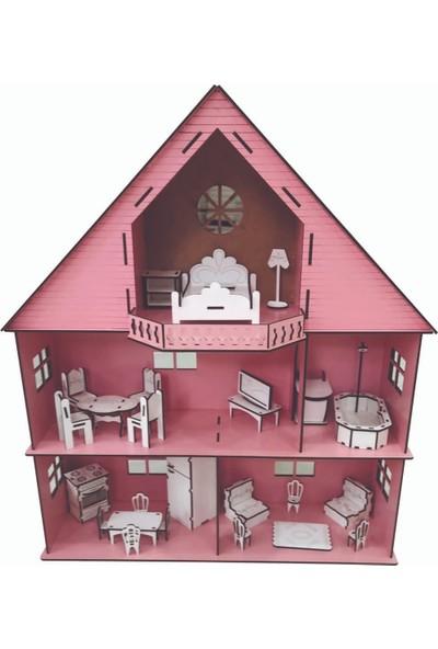 Ahşap Oyuncak Oyun Evi 26 Adet Mobilyalı